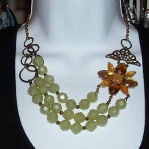 LYDELL THREE STRAND FLOWER BEADED NECKLACE